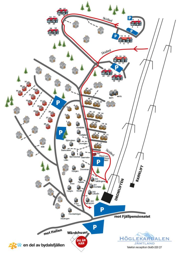 Karta över stugbyn